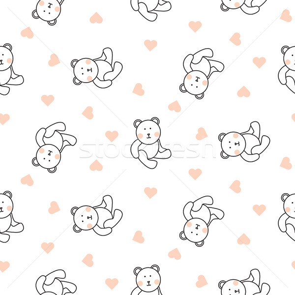 Teddy bear plush seamless vector pattern. Stock photo © yopixart