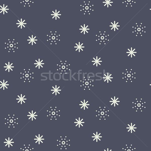 Végtelenített hópehely vektor minta sötét kék Stock fotó © yopixart