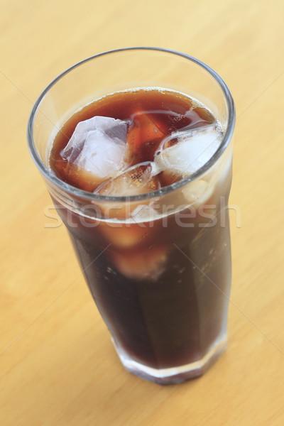 Gelo café madeira secretária vidro Foto stock © yoshiyayo