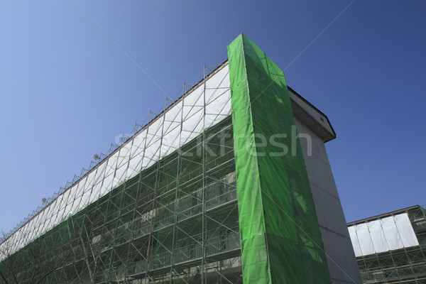 építkezés munka helyszín állványzat égbolt ház Stock fotó © yoshiyayo