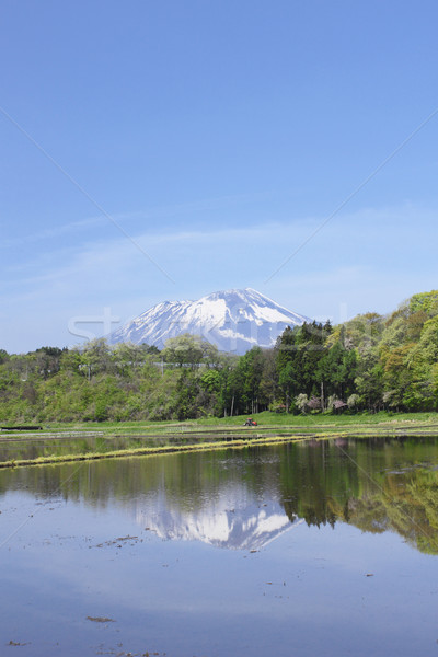 Stock photo: Mt.Iwate and pastoral landscape