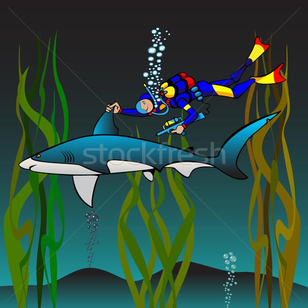 ワクチン接種 サメ 獣医 漫画 医師 幸せ ストックフォト © yul30