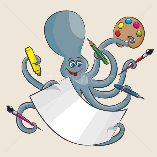 Stockfoto: Octopus · vrolijk · alle · armen · penseel · potloden