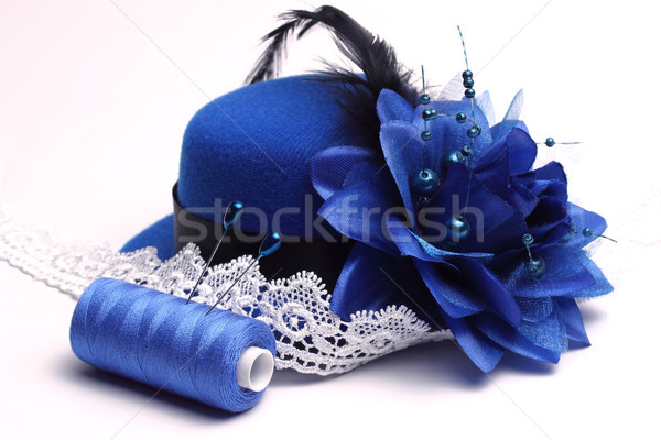 Blue hat and white lace Stock photo © yul30