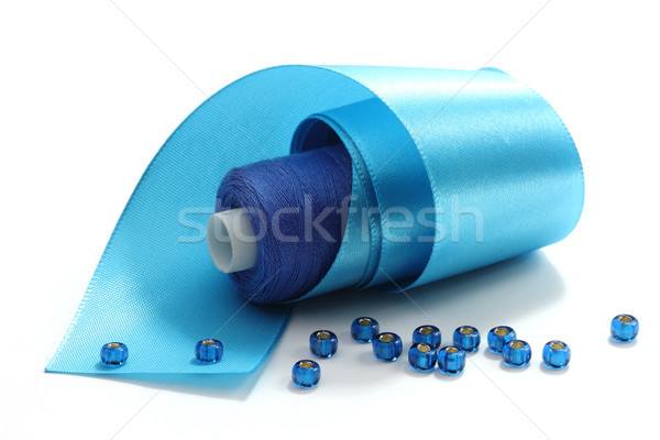 Stock photo: Blue tape and blue threads