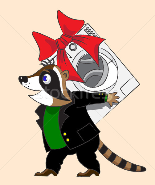Raccoon and washing machine Stock photo © yul30