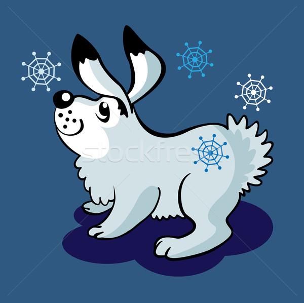 Zając płatki śniegu biały królik Snowflake nosa Zdjęcia stock © yul30