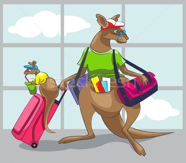 Kangaroo travels with a family Stock photo © yul30
