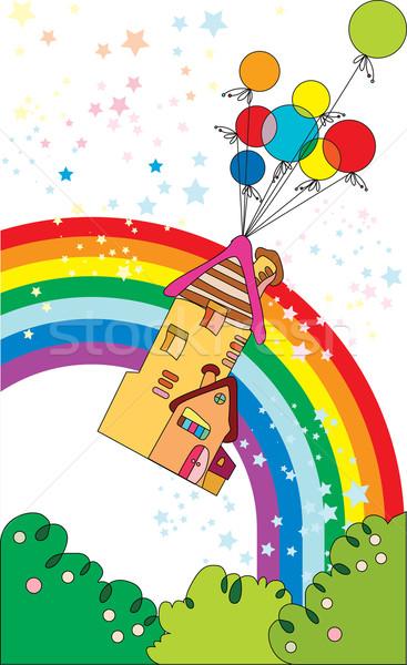Vliegen home ballonnen gefeliciteerd kaart vector Stockfoto © yulia_mayevska