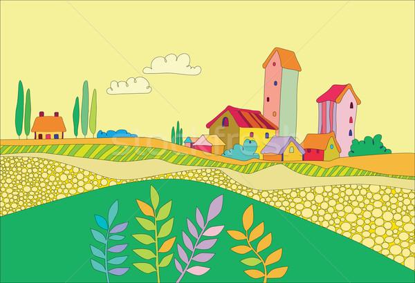 Klein dorp veld kleurrijk huizen hemel Stockfoto © yulia_mayevska