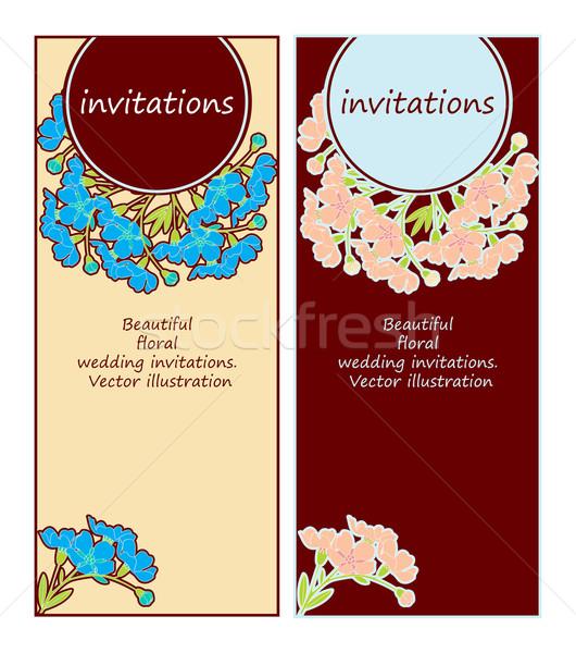 Bruiloft uitnodigingen weinig mooie bloemen Stockfoto © yulia_mayevska