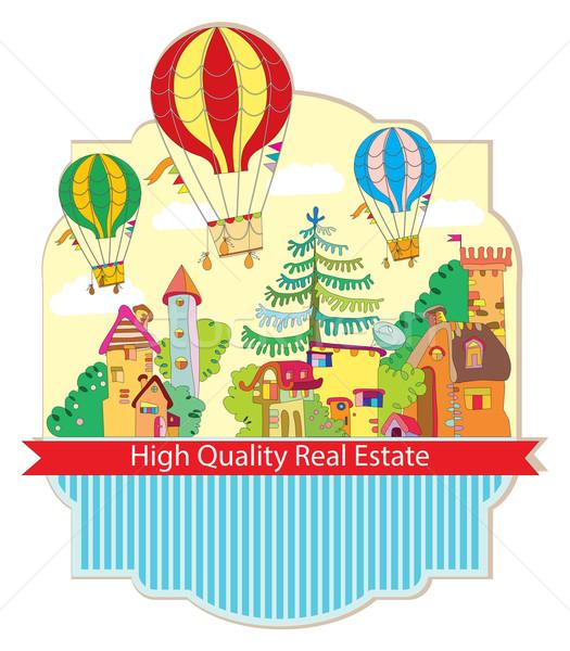 Stad stad luchtballon kaart hoog kwaliteit Stockfoto © yulia_mayevska