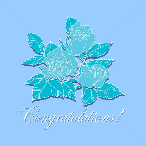 Stockfoto: Felicitatie · rozen · wenskaart · Blauw · bruiloft · mode