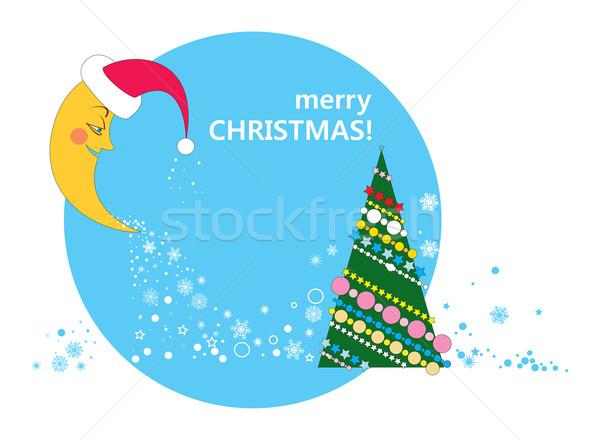 полумесяц рождественская елка звезды Cap Дед Мороз небе Сток-фото © yulia_mayevska