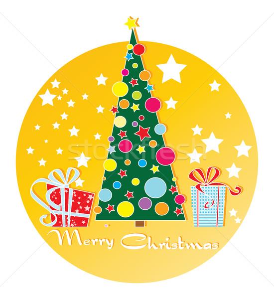 Kerstboom geschenken wenskaart banner sticker boom Stockfoto © yulia_mayevska