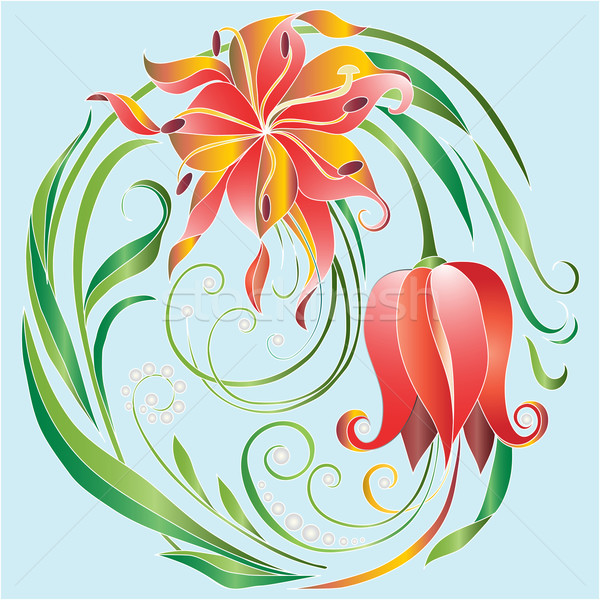 Tulpen cirkel dauw abstract natuur ontwerp Stockfoto © yulia_mayevska