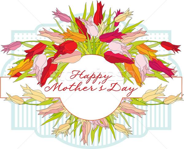 Wenskaart tulpen moeders dag frame Stockfoto © yulia_mayevska