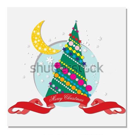 Kaart kerstboom geschenken papier boom gelukkig Stockfoto © yulia_mayevska