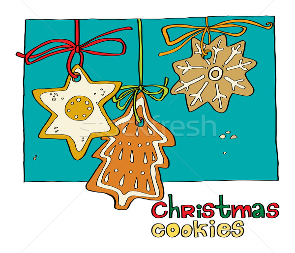 Christmas peperkoek cookies illustratie hand Stockfoto © yulia_mayevska