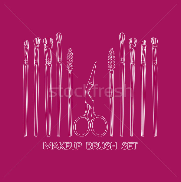 cosmetic brush and scissors Stock photo © yulia_mayevska
