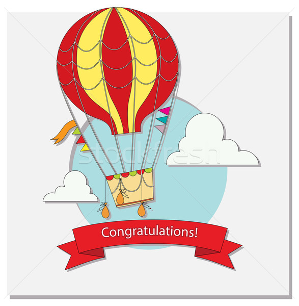 Stock photo: Greeting card with hot air balloon and clouds