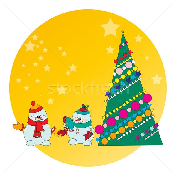 Stockfoto: Sneeuwpop · kerstboom · kaart · ontwerp · ijs · groene