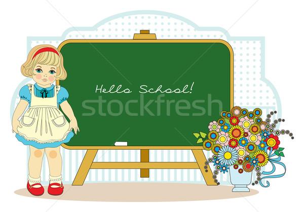 Fille école tableau noir uniforme scolaire à l'extérieur enfant Photo stock © yulia_mayevska