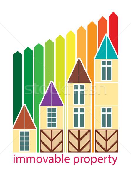 Mozdíthatatlan tulajdon növekedés ár házak színes Stock fotó © yulia_mayevska