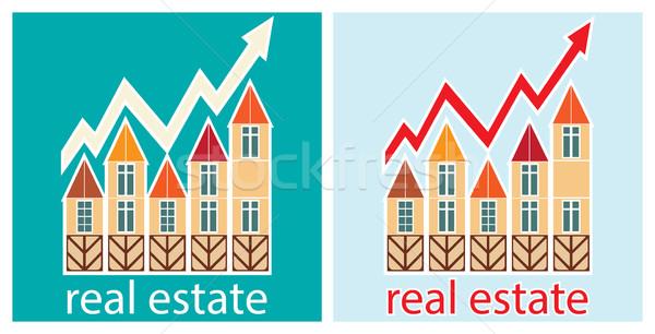 Prijzen onroerend gebouw home achtergrond teken Stockfoto © yulia_mayevska