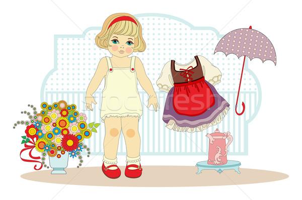Meisje pop kleding bloem ontwerp Stockfoto © yulia_mayevska
