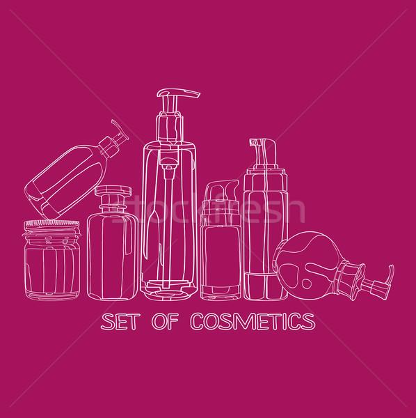 Ingesteld cosmetica ontwerp idee vrouw Stockfoto © yulia_mayevska