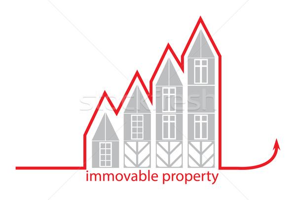Onroerend grijs huis groeiend pijl business Stockfoto © yulia_mayevska