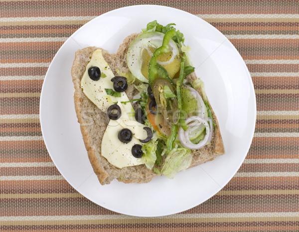 Vejetaryen sandviç yaprak ekmek kırmızı Stok fotoğraf © yuliang11