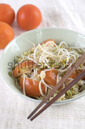 malaysian chinese fried bean sprout with tomatoes Stock photo © yuliang11