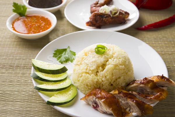 chicken rice. Asian style hainan chicken rice closeup Stock photo © yuliang11