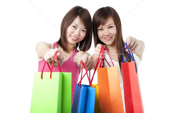 Mutlu Asya kız alışveriş yalıtılmış beyaz Stok fotoğraf © yuliang11