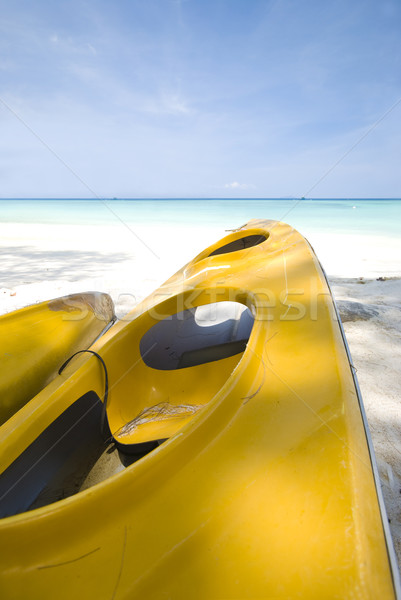 Kano mooie Blauw strand hemel sport Stockfoto © yuliang11