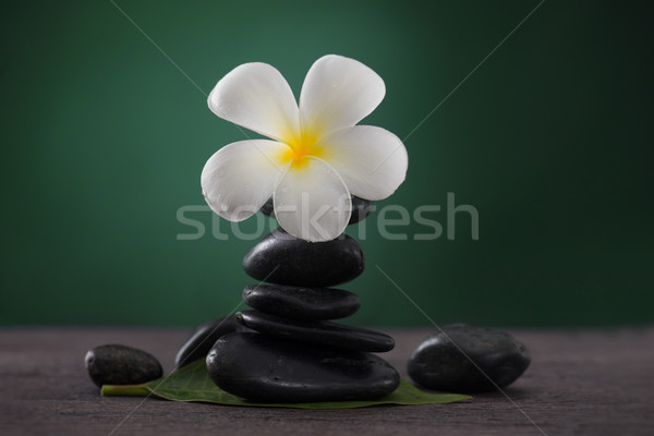 Stock foto: Gestapelt · heißen · Steine · Massage · spa · Blume