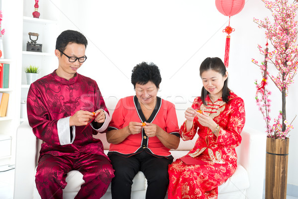 chinese new year family with good luck wishes Stock photo © yuliang11