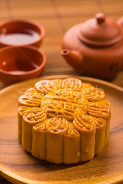 Mooncake for Chinese mid autumn festival foods. The Chinese word Stock photo © yuliang11
