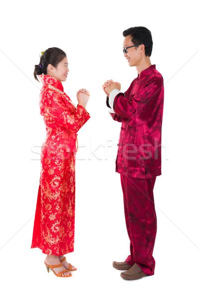 ázsiai pár ünnepel kínai új év hagyományos ruházat Stock fotó © yuliang11