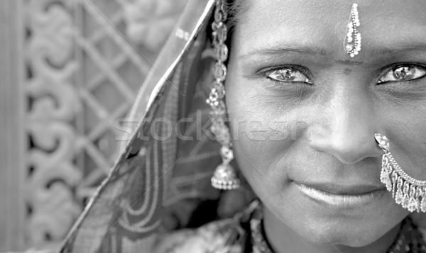 Portre Hindistan kadın siyah beyaz kız Stok fotoğraf © yuliang11