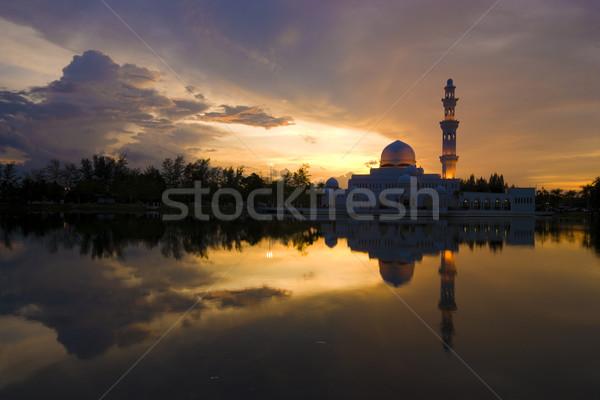 Cami siluet gökyüzü Bina gün batımı manzara Stok fotoğraf © yuliang11
