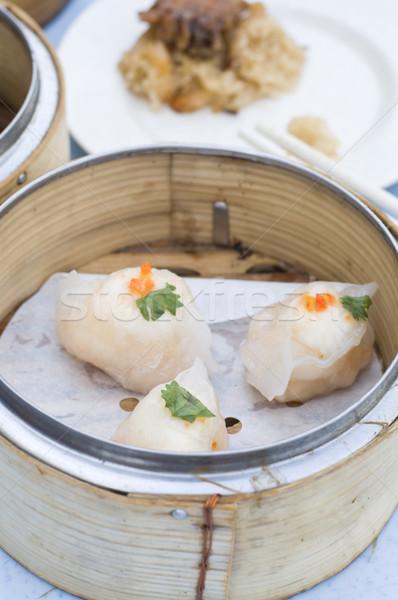 Asian dim sum ristorante piatto bambù verdura Foto d'archivio © yuliang11
