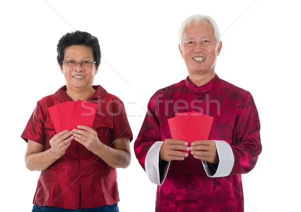gong xi fa cai senior chinese new year couple Stock photo © yuliang11
