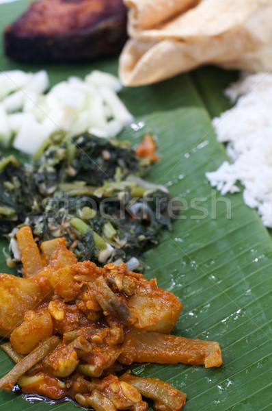 Muz yaprak yemek ünlü güney Hint Stok fotoğraf © yuliang11