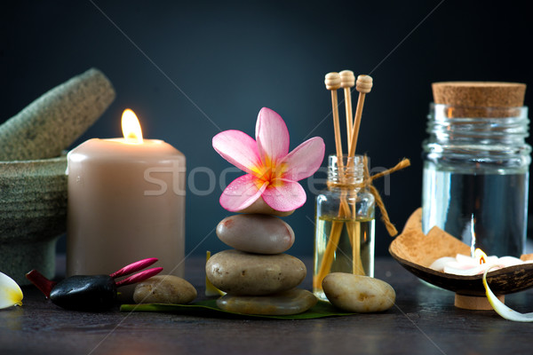 Spa concept in dark background with  ambient lights , cold stone Stock photo © yuliang11