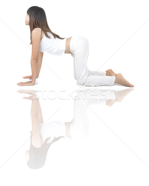 Yoga kız Asya el arka plan egzersiz Stok fotoğraf © yuliang11