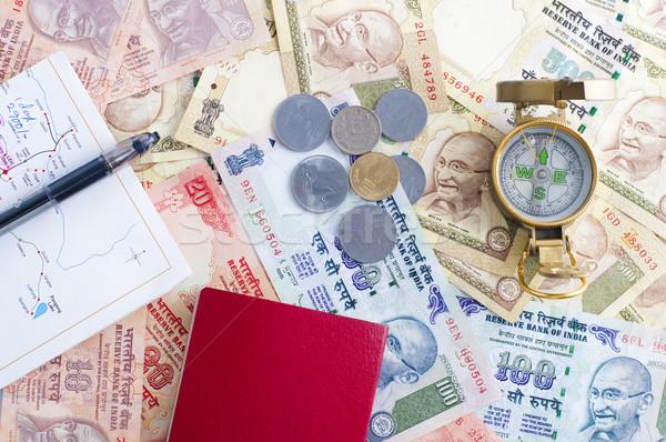 Hindistan Hint harita pasaport pusula Stok fotoğraf © yuliang11