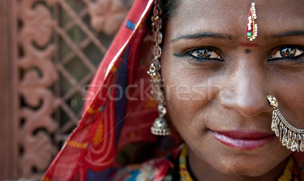 Portre Hindistan kadın kız gelin Stok fotoğraf © yuliang11